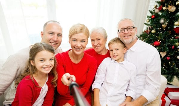 Smiling Family Making Selfie At Home