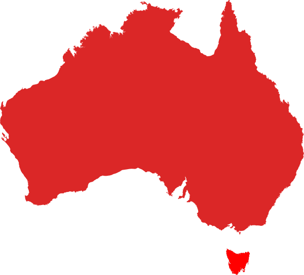 Australia Map Red Hi