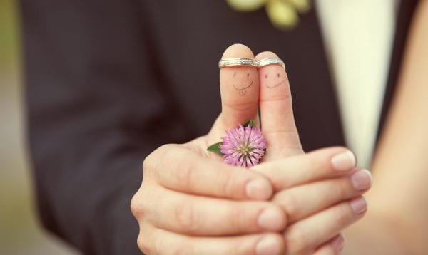 Wedding Rings On Her Fingers Painted With The Bride And Groom, F