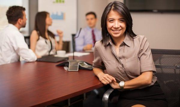 Happy Hispanic Lawyer At Work